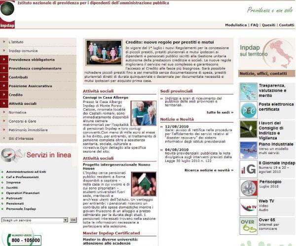 Prima pagina www.inpdap.it 12 agosto 2010