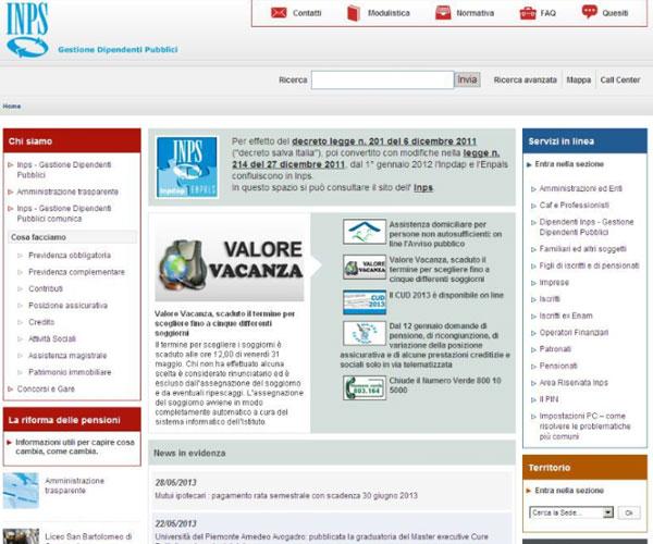 Home page sito web www.inpdap.it 28 maggio 2013